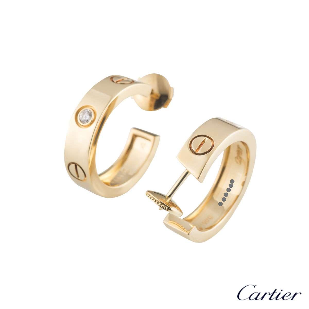 Cartier Yellow Gold Diamond Love Earrings B8022900